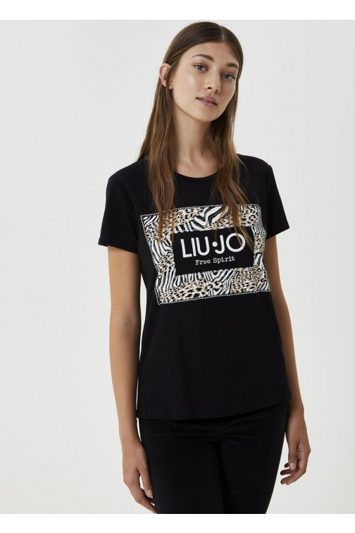 LiuJo T-shirt in zwart - print in animal
