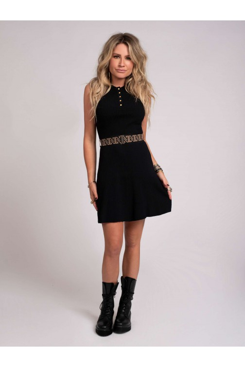 Nikkie Penny dress met riem in zwart