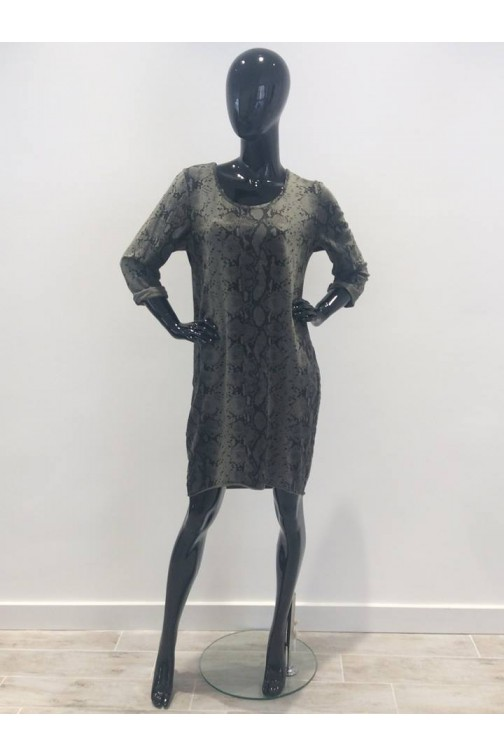 Snakeprint sweaterdress in army