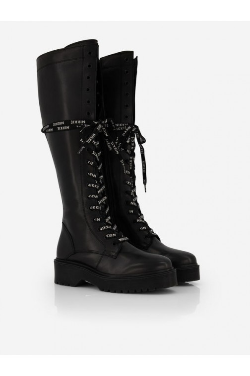 Nikkie Daya high laced boots - logo veter