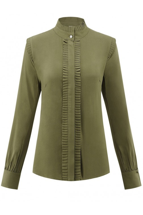 Its Given Linda blouse met ruffle in army
