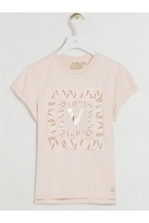 Josh V Dora t-shirt Square V in pink