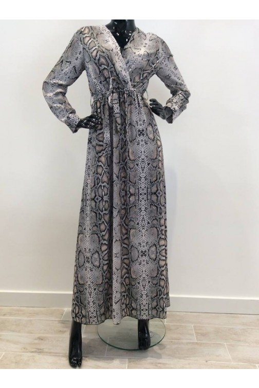 Maxidress in snake print - poeder