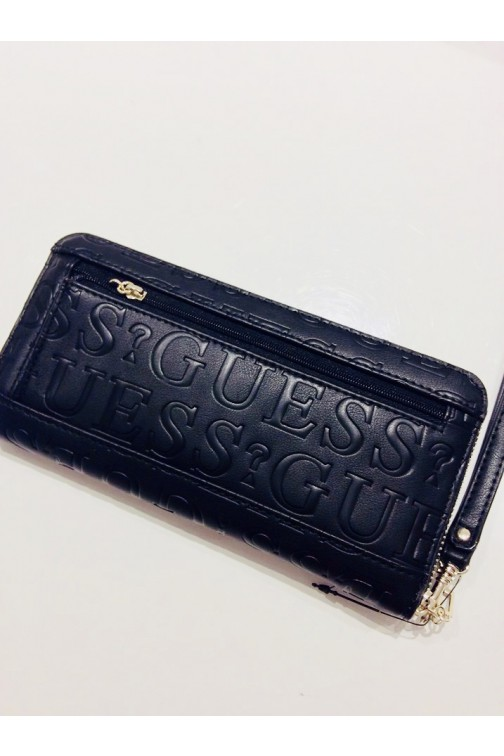 Guess Robyn wallet in zwart - allover logo