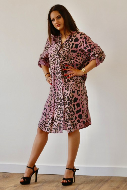 Leopard blouse jurk in pink