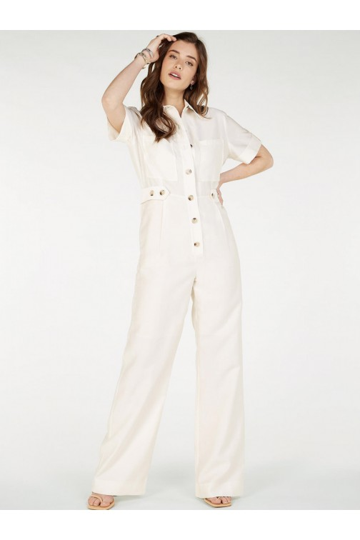 Josh V Rikva Jumpsuit met knoopjes in whisper white