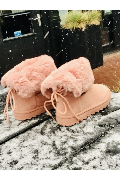 Bont laarsjes in powder roze met veter