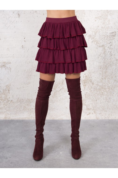Kim Strijd Toby Semi ruche skirt - wine red