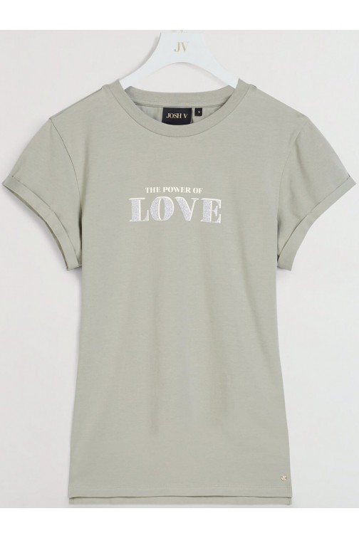 Josh V Dora t-shirt LOVE in stone green