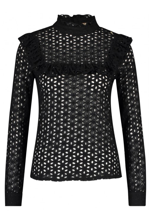 Its Given Nina broderie top in zwart