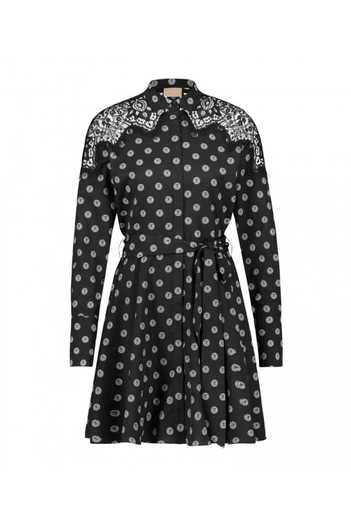 Josh V Ravina dress in zwart - V-logo polka dots