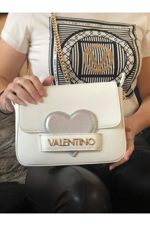 Valentino CoCo schoudertas in wit - silver heart