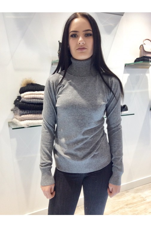 Turtleneck in grijs - cashmere