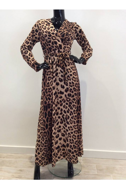 Maxidress in leopardprint