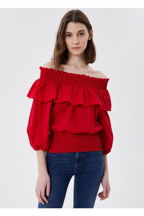 LiuJo offshoulder top met ruches in rood