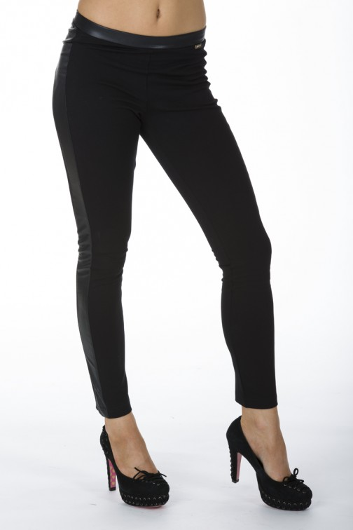 Miss Money Money legging in zwart suede.