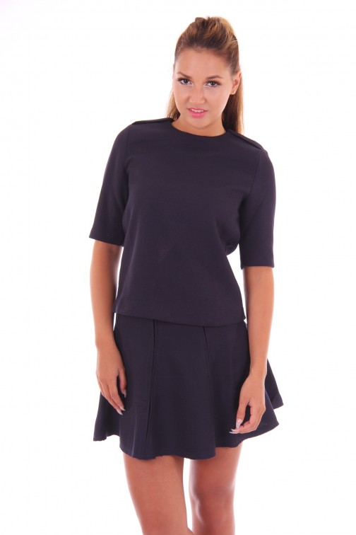 Jacky Luxury top met rits in navy
