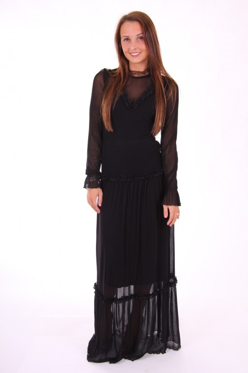Relish Babish maxi jurk in lace - zwart