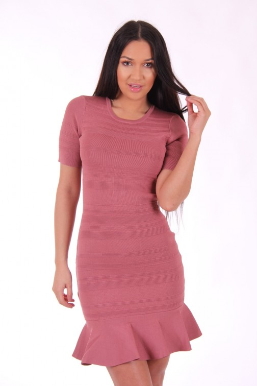 Josh V Julina dress met ruffle in rosewood
