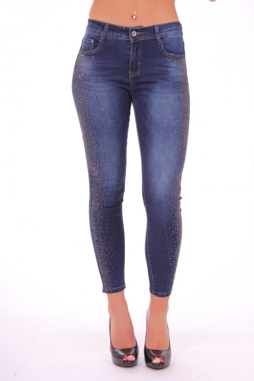 Stretch jeans met glanzende studs