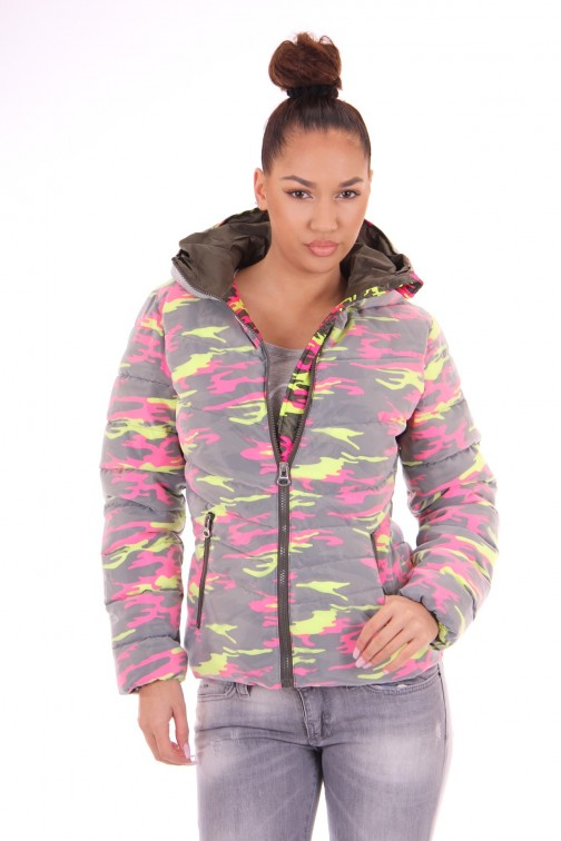 Nickelson Ono jas in camo fluo pink