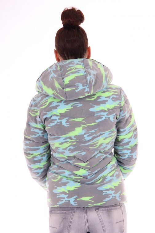 Nickelson Ono jas in camo fluo turquoise
