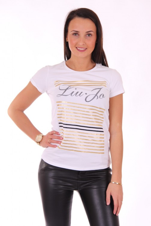 Liu Jo gold stripe t-shirt