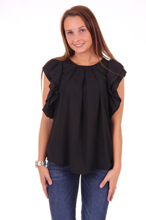 Relish Cral blouse met plisse in zwart
