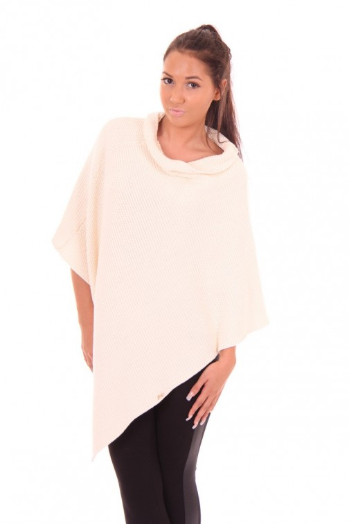 Gebreide poncho van Jacky Luxury in cream