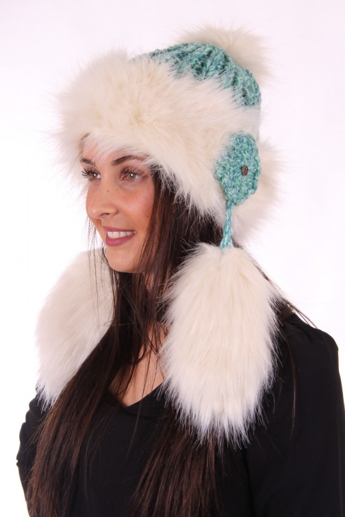 Starling muts met faux-fur en flosjes in turquoise-cream