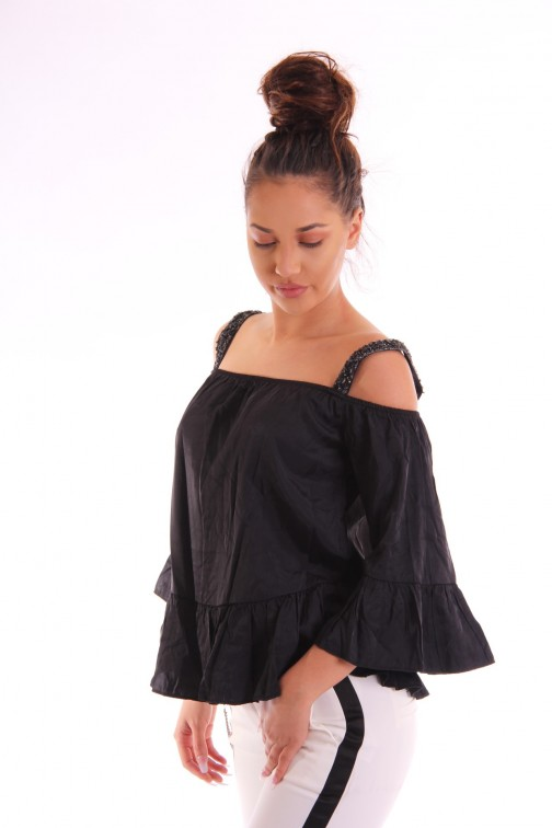 Maria Tailor Fynn off-shoulder top in zwart