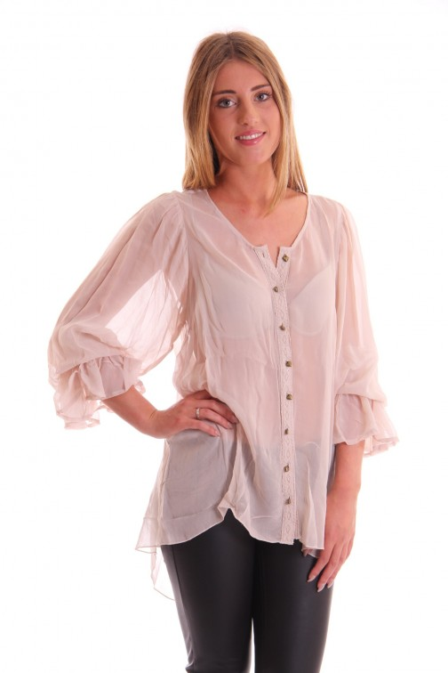 Isla Ibiza blouse met chrochet in cream
