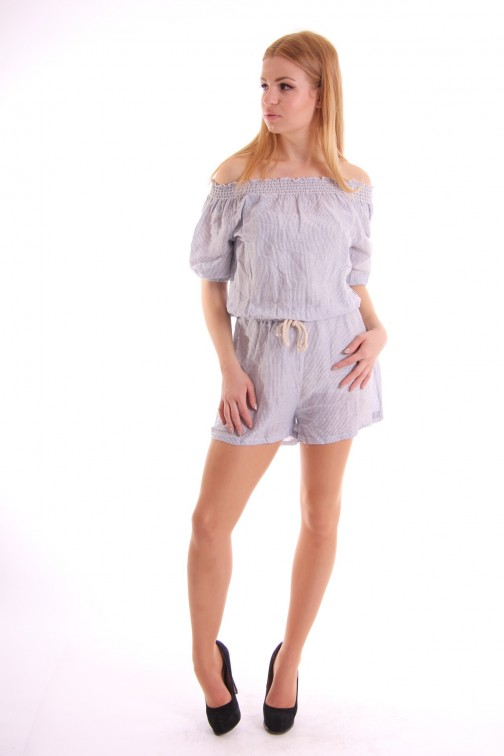 Gestreept off shoulder playsuit in wit en blauw