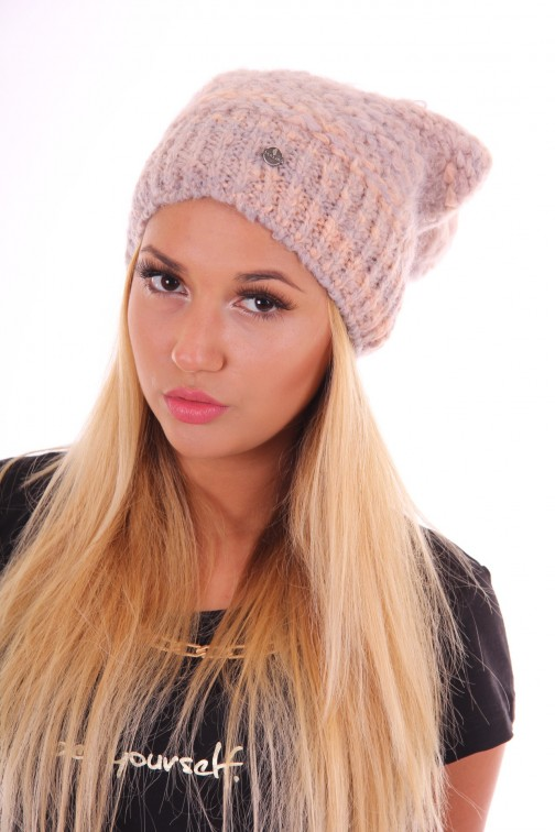 Starling beanie Estroso in peach and grey