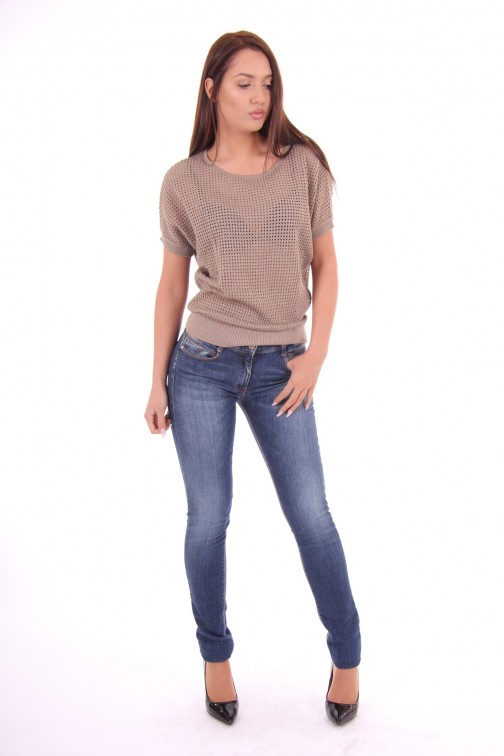 Kocca open knit top Arvin in taupe