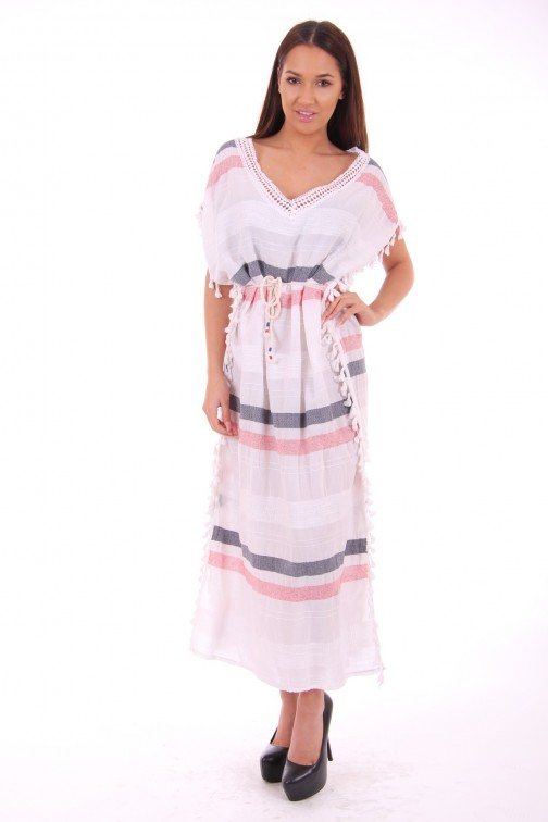 Maxi dress met klosjes in wit