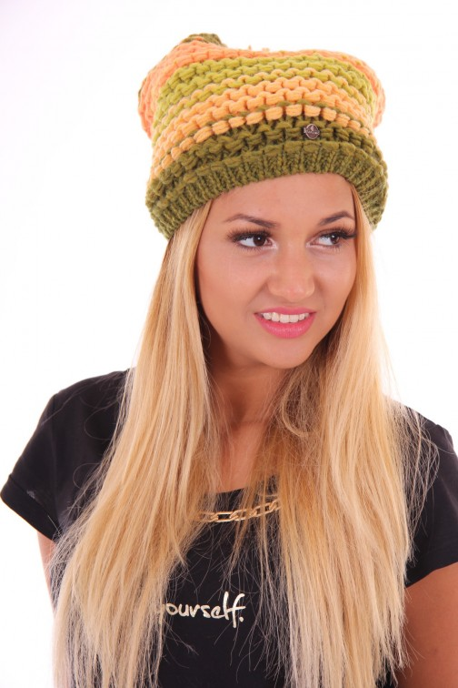 Starling beanie, rasta in lime en peach