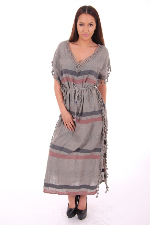 Maxi dress met klosjes in army