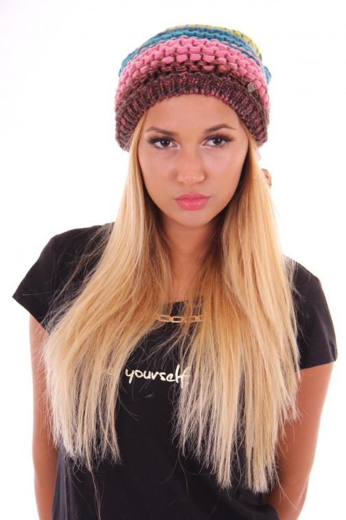 Starling beanie, rasta in pink en lime