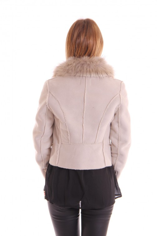 Fracomina Lammy jacket: Shearling in ivoor.