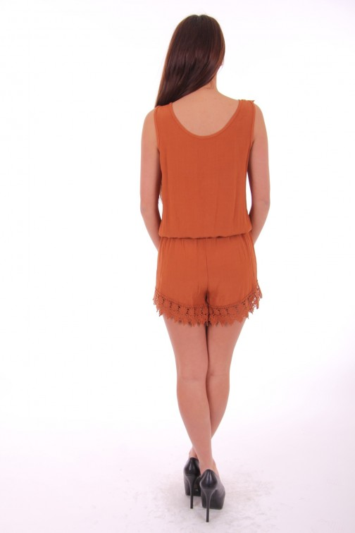 Playsuit met kant in terra