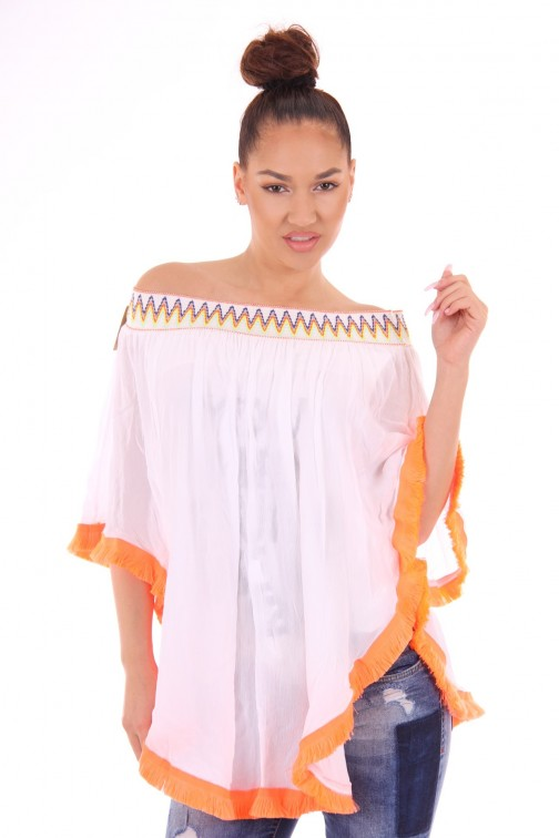 Off-shoulder tuniek met franjes in wit