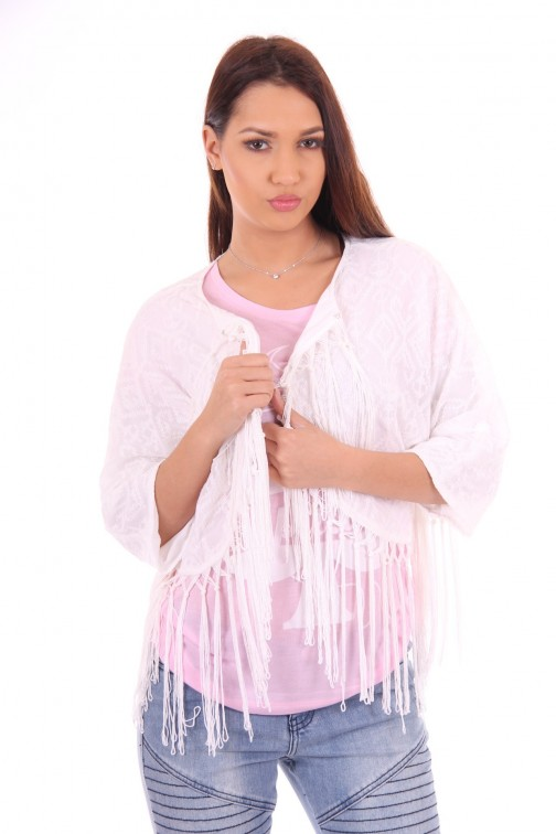 Relish fringejacket, Itaca in wit