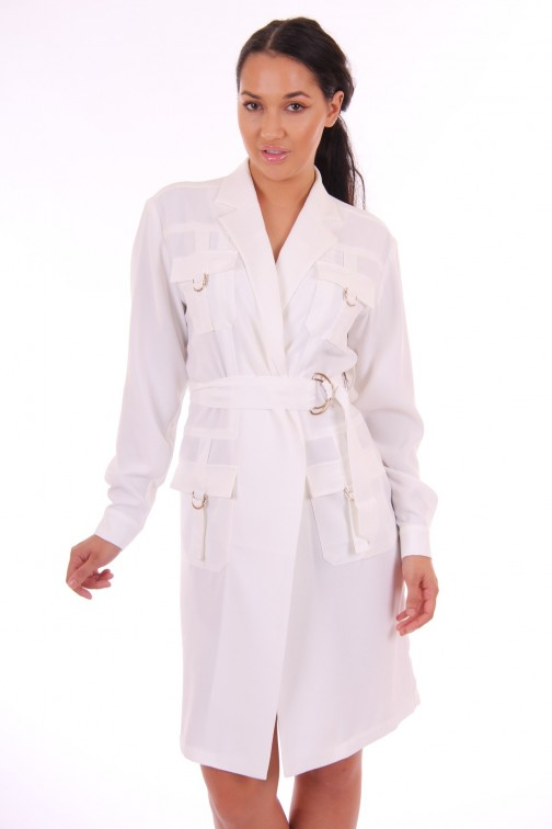 Supertrash Ohemia trench jurk in wit