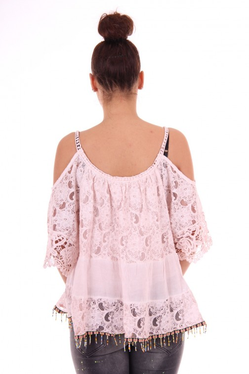 Kanten open shoulder tuniek in poeder roze