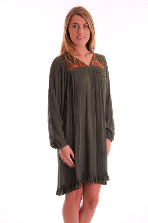 Labee Boby dress in army met orange borduursel