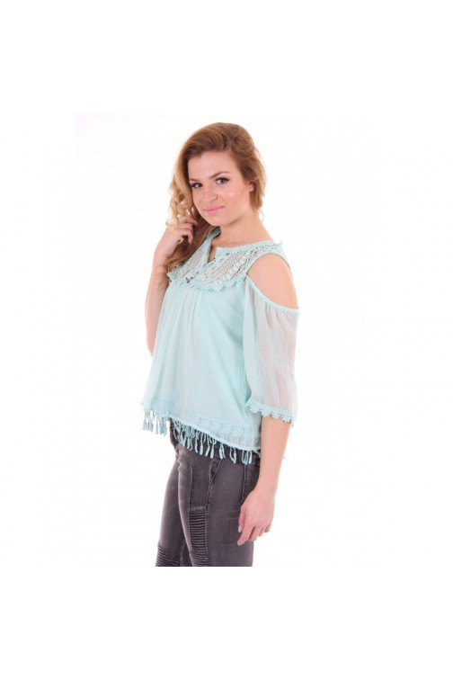 Isla Ibiza open shoulder top turquase