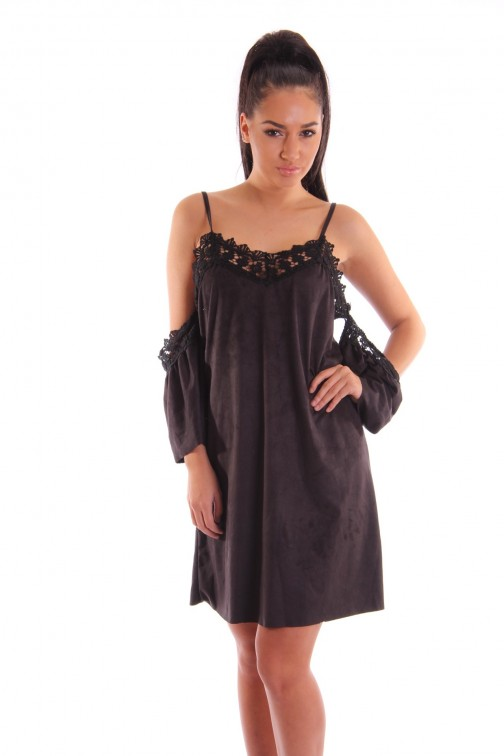 suedine open shoulder tuniek in zwart