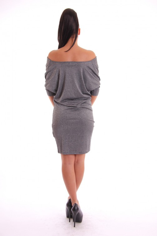 Supertrash Dodros drape dress in zilver