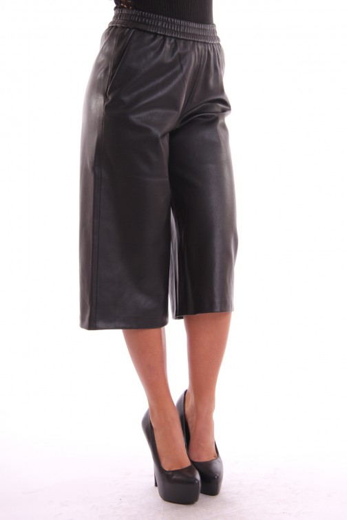 Supertrash Pine Culotte in zwart leer